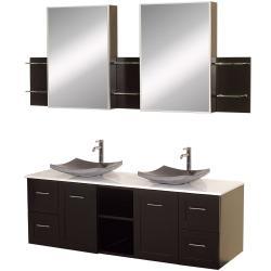 Wyndham Collection Avara Espresso 60-inch Double Bathroom Vanity Set