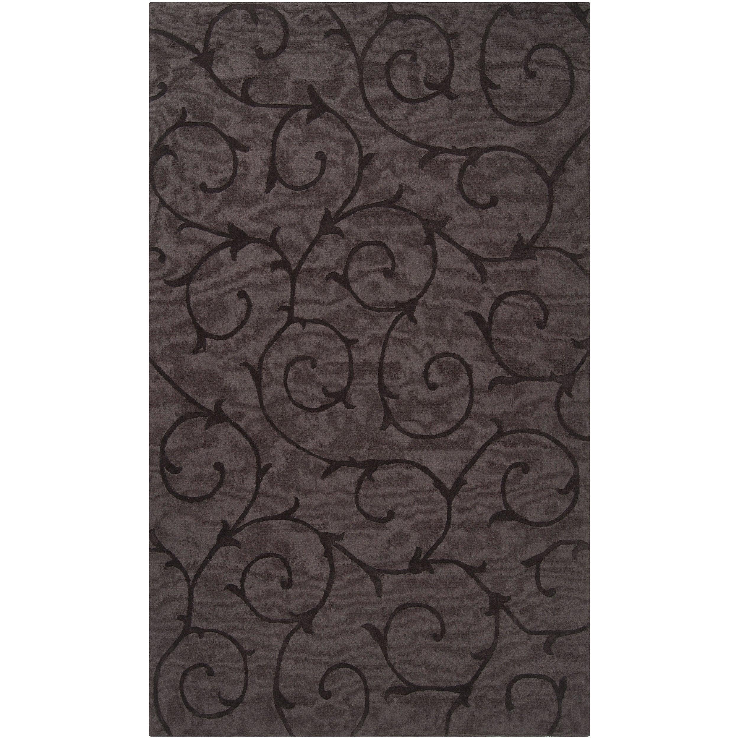 Hand-crafted Grey Solid Swirl Bristol Wool Rug (9' x 12')