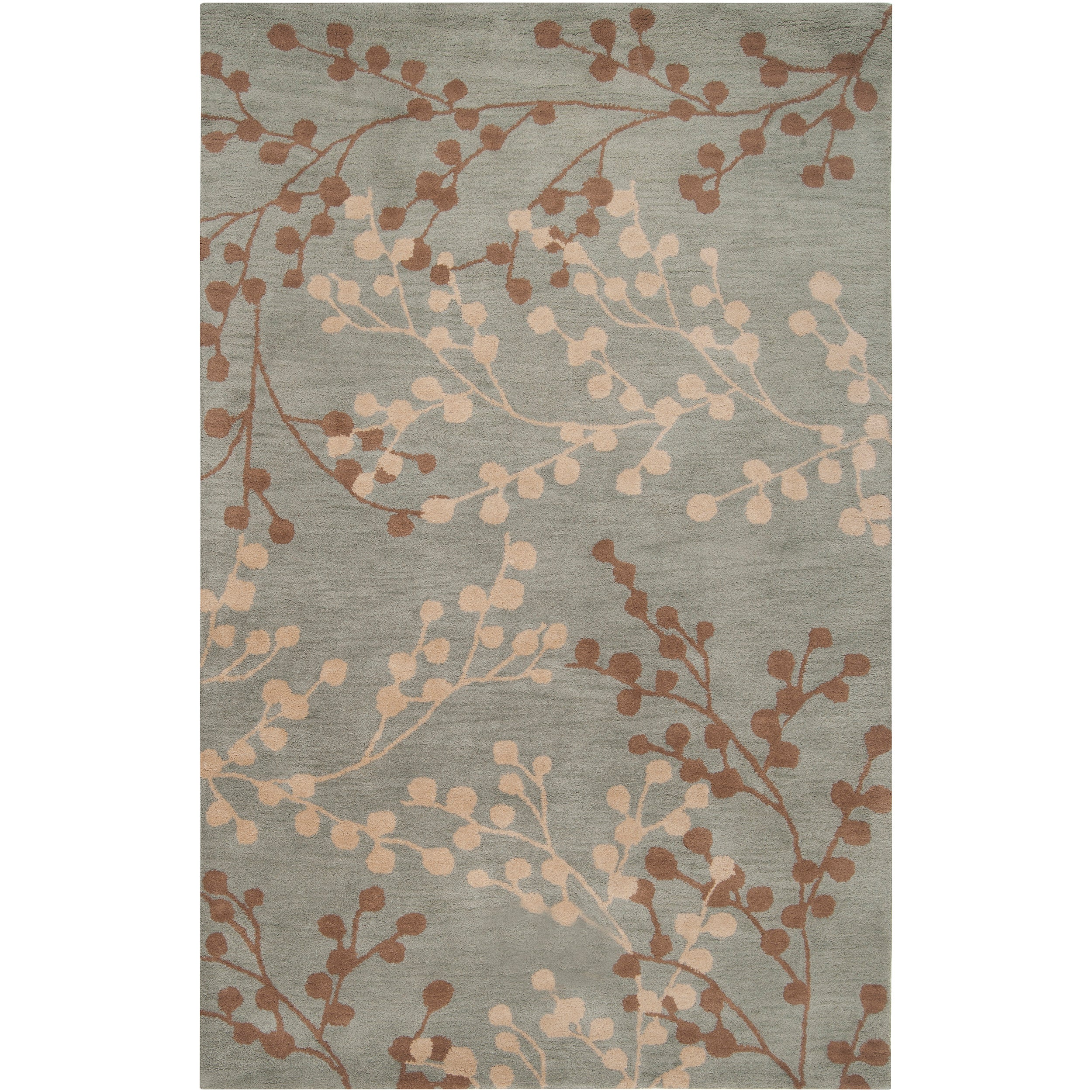 Hand tufted blossom blue floral wool rug 8 39 x10 for Dining room rugs 7 x 10