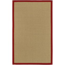 Woven Town Sisal with Red Cotton Border Rug (4' x 6')