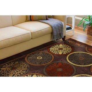 Clay Red Multicolor Viscose/Chenille Rug (5'1 x 7'6)
