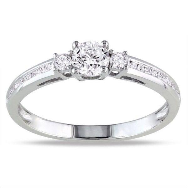 Miadora 10k White Gold 1/2ct TDW Diamond 3-stone Ring (G-H, I1-I2)