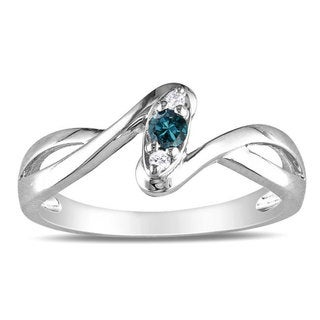 Haylee Jewels Sterling Silver 1/10ct TDW Blue and White Diamond Ring (G-H, I2-I3)