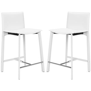 Madison Ave 24-inch White Leather Counter Stools (Set of 2)