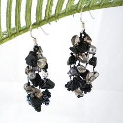 Sterling Silver Onyx and Pearl 'Midnight Melody' Earrings (4-5 mm)(Thailand)