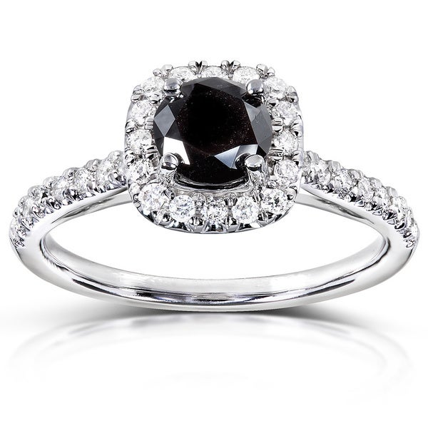 Annello 14k Gold 3/4ct TDW Black and White Diamond Halo Ring (H-I, I1-I2)