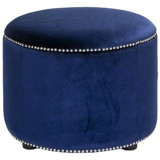 Safavieh Florentine Storage Royal Blue Velvet Round Ottoman
