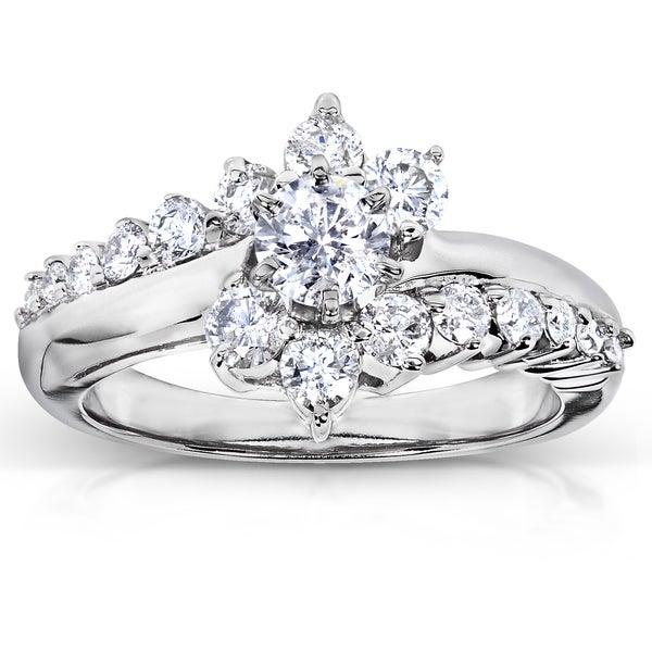 Annello 14k White Gold 1ct TDW Floral Round Diamond Ring (H-I, I1-I2)