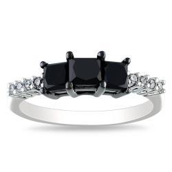 Miadora 10k White Gold 1 1/2ct TDW Black and White Diamond Ring (H-I, I2-I3)