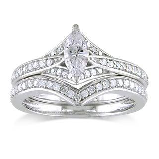 Miadora 14k White Gold 3/4ct TDW Diamond Bridal Ring Set (G-H, I1-I2)