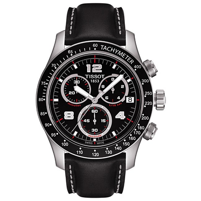 Tissot Men's 'V8' Black Chronograph Dial Watch