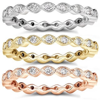 Annello 14k Gold 1/3ct TDW Stackable Diamond Eternity Ring (H-I, I1-I2)