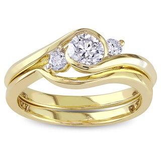 Miadora 10k Yellow Gold 1/2ct TDW Round Bezel Diamond Bridal Set (G-H, I1-I2)
