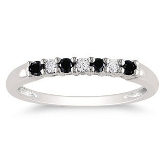 Miadora 10k White Gold 1/4ct TDW Black-and-white Prong-set Diamond Ring (G-H, I2-I3)