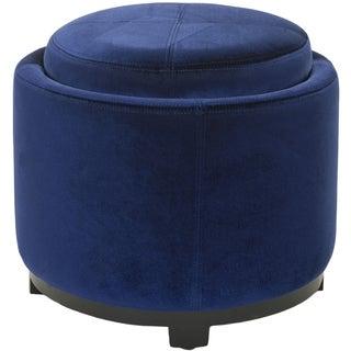 Safavieh Broadway Single Tray Royal Blue Storage Round Ottoman