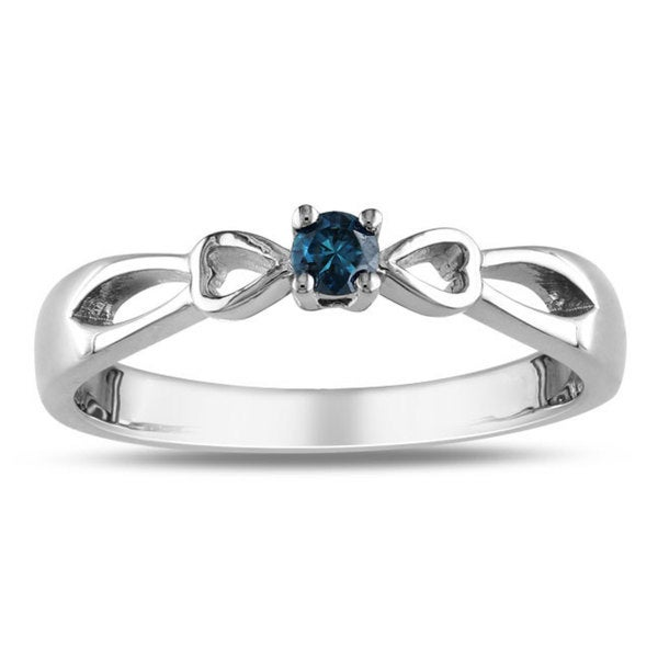 Haylee Jewels Sterling Silver 1/10ct TDW Blue Diamond Promise Ring