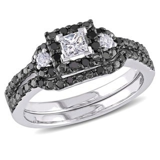 Miadora 10k White Gold 1/2ct TDW Black and White Diamond Bridal Set (G-H, I1-I2)