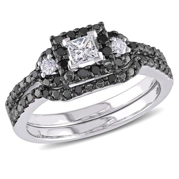 Miadora 10k White Gold 1/2ct TDW Black and White Diamond Bridal Set (G-H, I1-I2)