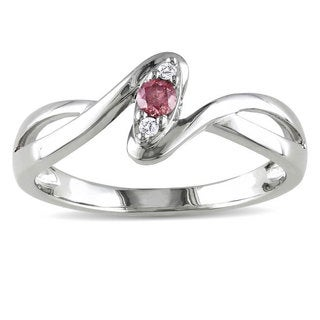 Haylee Jewels Sterling Silver 1/10ct TDW Pink and White Diamond Ring (H-I, I2-I3)