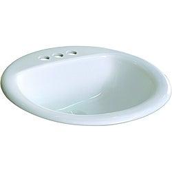 Somette Ceramic 19-inch Drop-in Self Rimming White Bathroom Sink