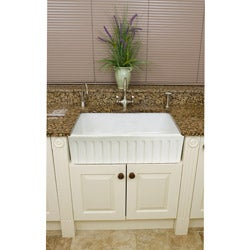 Somette Fireclay Fluted Apron 29-inch White Farmhouse KitchenSink