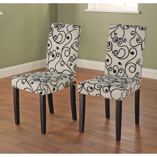 Simple Living Parson Cream and Black Rubber Wood Dining Chairs (Set of 2)