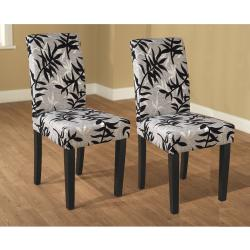 Simple Living Parson Black and Silver Rubber Wood Dining Chairs (Set of 2)