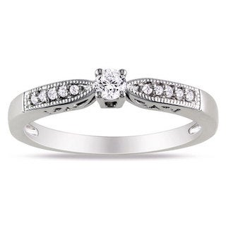 Haylee Jewels Sterling Silver 1/6ct TDW Round Diamond Ring (H-I, I2-I3)