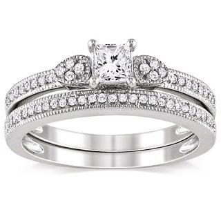 Miadora 10k White Gold 1/2ct TDW Diamond Ring Set (G-H, I1-I2)