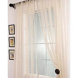 Signature Havannah Natural Striped Linen and Voile Weaved Sheer Curtain