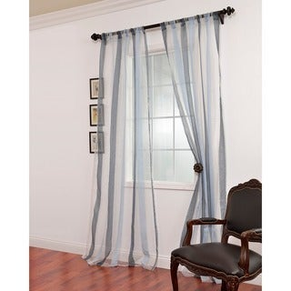Signature Havannah Blue Striped Linen and Voile Weaved Sheer Curtain