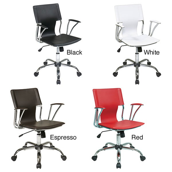 Office Star Dorado Office Chair with Fixed Padded Arms and Chrome Finish