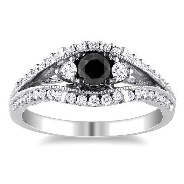 Miadora 10k White Gold 3/4ct TDW Black and White Diamond Ring (H-I, I2-I3)