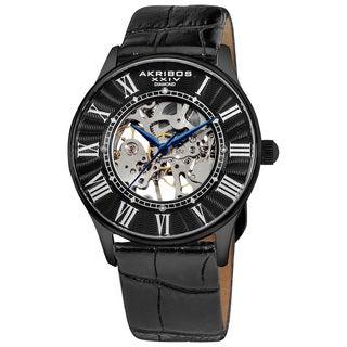 Akribos XXIV Slim Men's Black-Leather Mechanical Watch