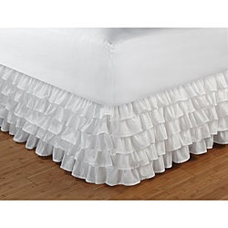 Cotton-blend Multi-ruffle White 15-inch Drop Bedskirt