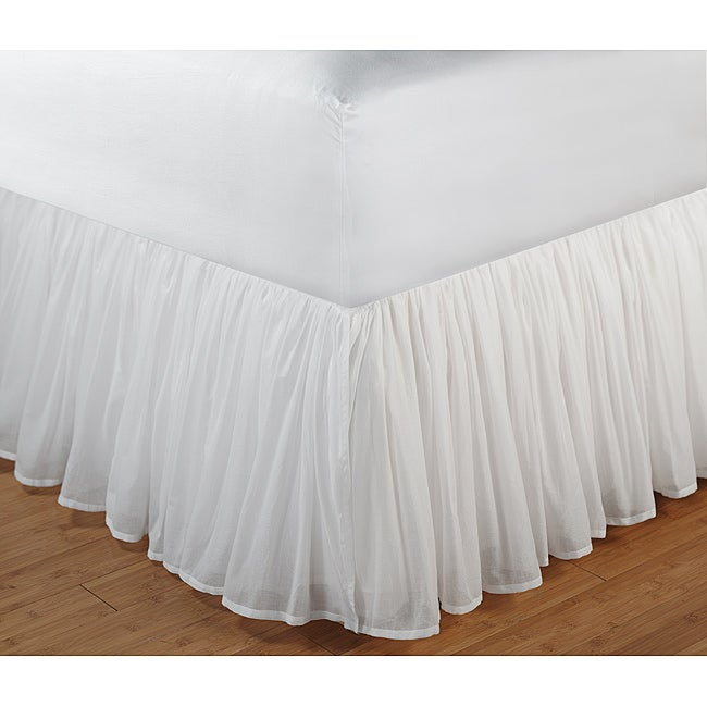Greenland Home Fashions White Gathered Cotton Voile 18-inch-drop Bedskirt with Polyester Liner