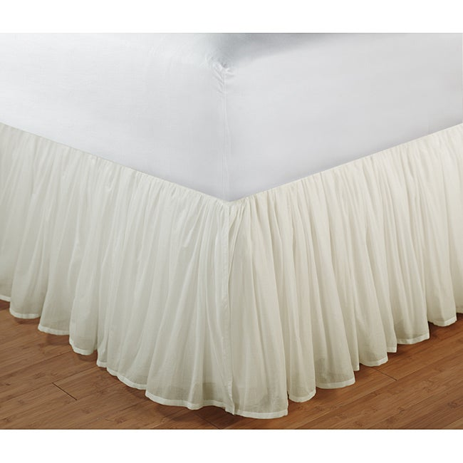 Greenland Home Fashions Cotton Voile Ivory 15-inch Drop Bedskirt