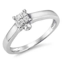 10k White Gold 1/5ct TDW Princess Cut Composite Diamond Ring (H-I, I1-I2)