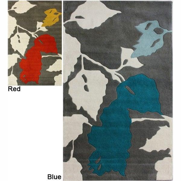 nuLOOM Handmade Leaves Grey New Zealand Wool Rug (7'6 x 9'6)