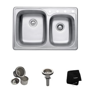 Kraus 33 -inch Topmount 55/45 Double Bowl Steel Kitchen Sink