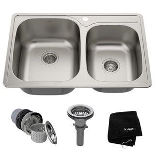 Kraus 33 -inch Topmount 55/45 Double Bowl Steel Kitchen Sink