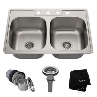 Kraus 33 -inch Topmount 50/50 Double Bowl Steel Kitchen Sink