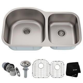 Kraus 35 -inch Undermount 55/45 Double Bowl Steel Kitchen Sink