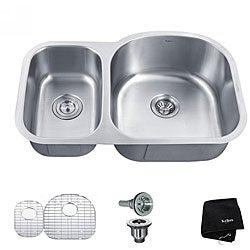 Kraus 32 -inch Undermount 65/35 Double Bowl Steel Kitchen Sink