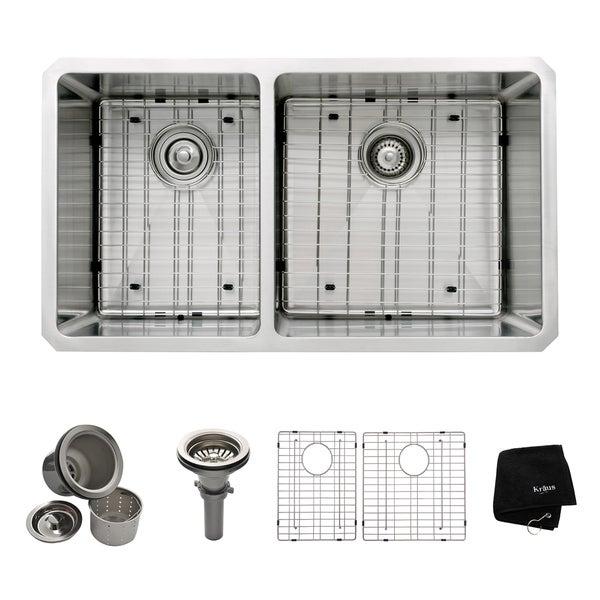 Kraus 33 -inch Undermount 60/40 Double Bowl Steel Kitchen Sink