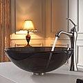 Kraus Bathroom Combo Set Clear Brown Glass Vessel Sink/Faucet