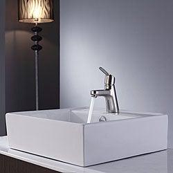 Kraus Bathroom Combo Set White Square Ceramic Sink/Ferus Bas-inch Faucet