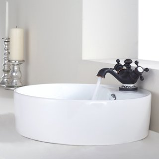 Kraus White Round Ceramic Sink and Apollo Basin Faucet Oil Rubbed Bronze
