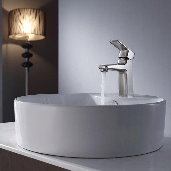 Kraus Bathroom Combo Set White Round Ceramic Sink/Virtus Bas-inch Faucet