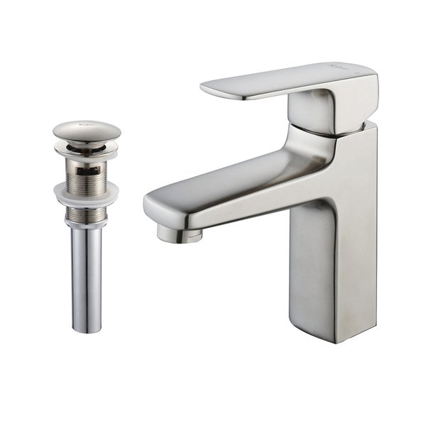 Kraus Virtus Single Lever Bas-inch Faucet/ Pop Up Drain withOverflow